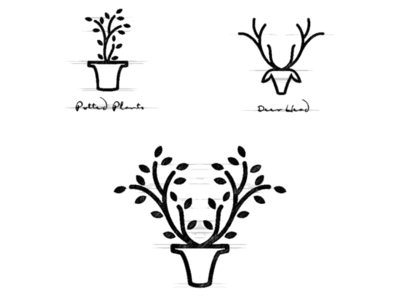 Potted Plant + Deer potted logo garagephic studio deer logo deer plant potted logo combination dual meaning logo negative space dualmeaning inspiration icon vector illustration graphic designer branding brand design logo