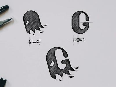 Ghost with Letter G garagephic studio negative space logo negative space g logo letter g logo ghost logo ghost g letter g inspirations dualmeaning icon vector illustration graphic designer branding brand design logo