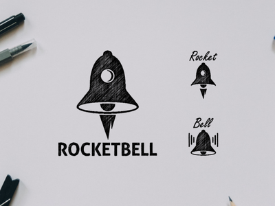 Rocketball logo awesome logo bell awesome design rocket awesome inspiration icon vector graphic illustration designer branding brand logo design
