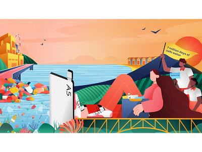 The Memobottle Story landscape beach environmental issues plastic waste water waste melbourne colourful challenge concept art design texture character design vector illustration vec illustrations