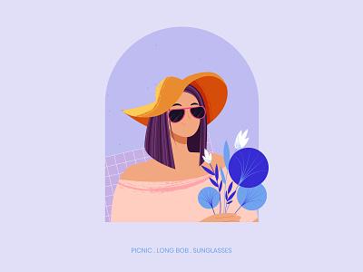 Picnic character vector digital illustration digital art challenge girl character texture hat flowers nature picnic vector illustration character design