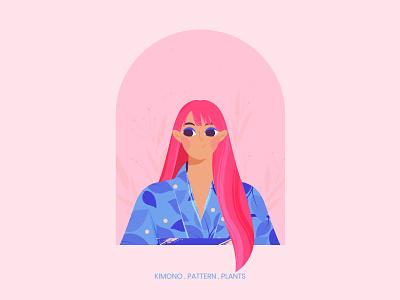Girl in Kimono portrait avatar digital art vector 2d japanese girl pattern plants challenge design illustration girl character texture vector illustration character design character tradition culture japanese kimono
