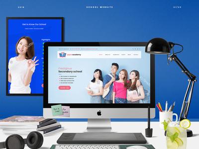 School Website minimal flat typography vector web ux branding illustration logo design website ui