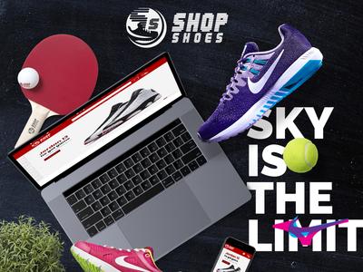 Shop Shoes Website presentation mockup design shop homepage ux ui wordpress ecommerce googlefont fontawesome bootstrap responsive parallax uiux web