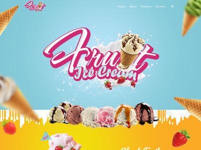 Landing Page - Fruit Ice Cream logo design branding logo design local store fruits ice cream cafe wordpress shop landing page scroll animation parallax bootstrap responsive uiux web