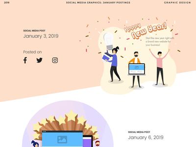 Social Media Postings January 2019 icons isometric social media graphics design