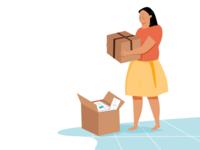 Packing Girl Illustration