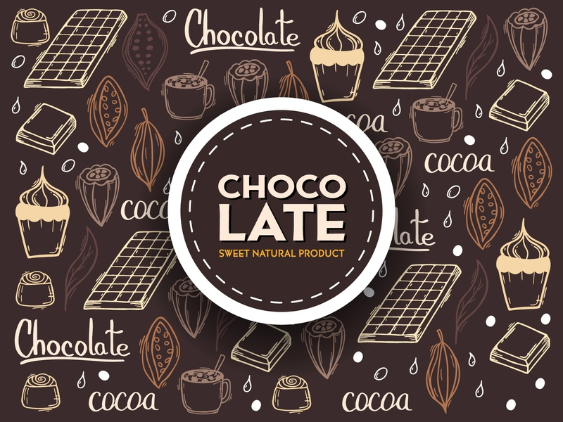 Chocolate doodle background cacao cocoa candy product sweet chocolat logo branding hand drawn doodle background vector illustration design
