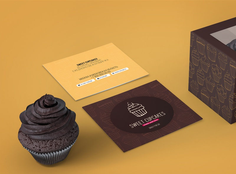 Sweet Cupcakes cupcake cake sweet logotype typography identity logo branding hand drawn background vector illustration design