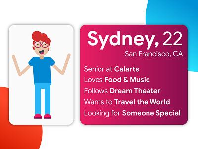 Sydney | A Gender Neutral Character & User Persona minimal userpersona material graphic  design illustration digitalart vector design adobeillustrator