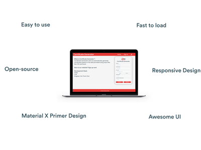 Certificate Generator UI Design primer xd material web app ux adobephotoshop ui adobe digitalart design adobeillustrator
