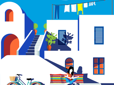 An ordinary day in Naxos island digital art illustration art illustration greece cyclades naxos