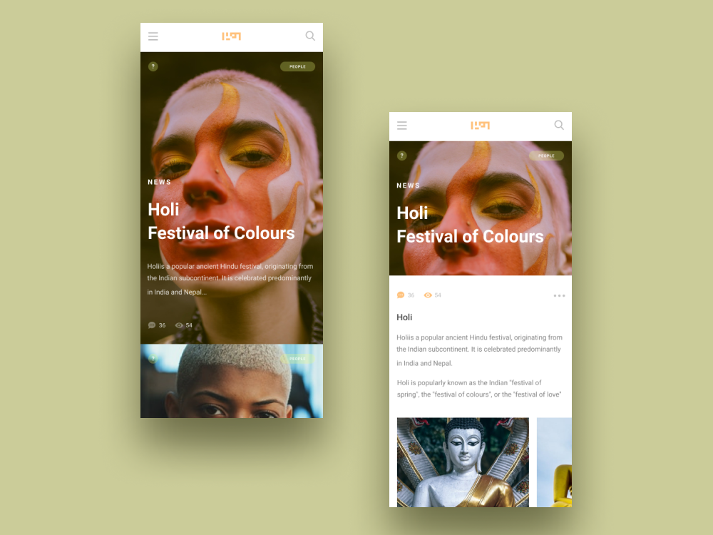 News app holi news app design app typography ux ui figma design