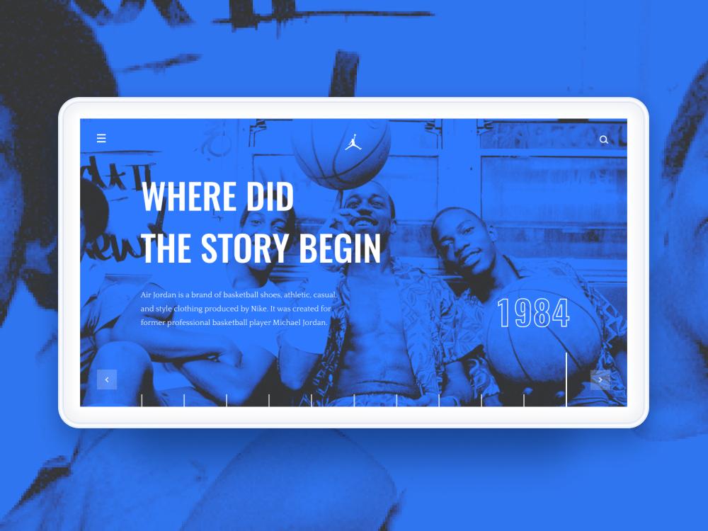Air Jordan Page Concept intarface basketball air jordan photoshop minimalism web typography ux ui figma design