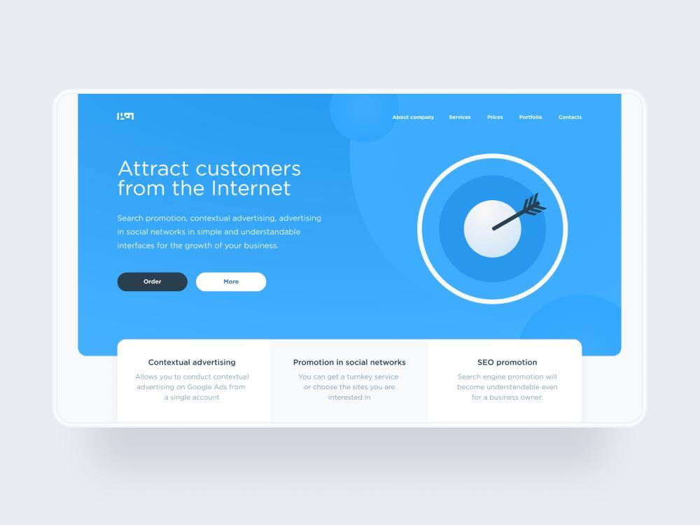 Internet promotion platforms | Concept landing page minimalism web typography ux ui figma design
