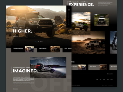 OFF. - offroad vehicle concept web grid design clean futuristic landing page homepage off vehicle gmc ford toyota jeep ui design off road automotive automobile car concept web design website