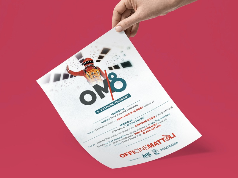 Flyer per OM/8 nooz logo design graphic  design flyer cinema