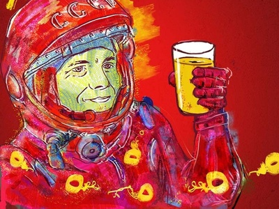 Gagarin album art homebrewing fine art digital paint beer russian label ipa beer label photoshop palette illustrations illustration art digitalpaint design digitalart digital art nooz illustration artwork