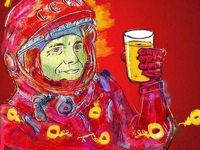 Gagarin album art homebrewing fine art digital paint beer russian label ipa beer label photoshop palette illustrations illustration art digitalpaint design digitalart digital art nooz illustration artwork