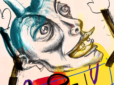 Maninalto yellow face digitalpaint nooz contemporaryart illustration