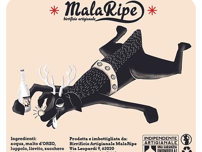 Malaripe Sganassoni RETRO vector illustration art illustrations digitalpaint digital art nooz illustration beer branding beer label beer art beer reindeer rudolph