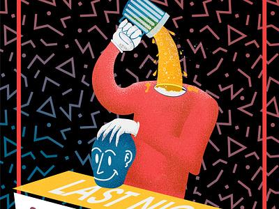 Last night Party flyer illustration art digitalart digitalpaint digital art artwork nooz illustration flat design vector flat red head beer flyer