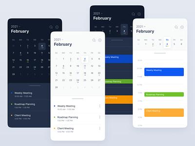 Calendar app - Mobile version app concept ui concept dark theme light theme meeting clean design clean ui calendar ui schedule planning calendar app calendar mobile app