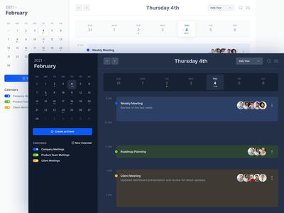 Calendar app - Desktop version - Dark theme dark theme clean design desktop ui concept desktop app meeting planner schedule agenda calendar ui calendar app