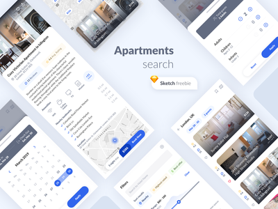 Apartments search ux ui room reservation design booking search mobile app freebie