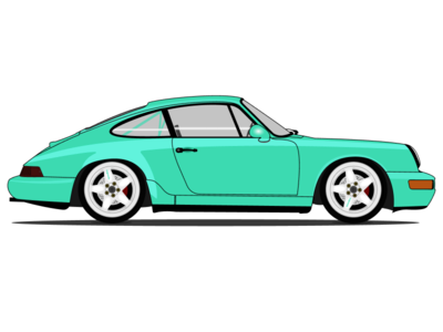 Porsche 911 (964) mint green illustration