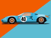 FORD GT40  (1968) Gulf illustration