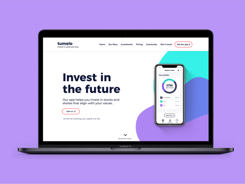 Investing in the future app design design adobe xd web app branding vector ux ui website tech landing page startup bristol fintech
