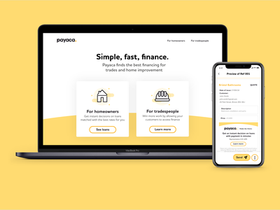Payaca - fast finance for tradespeople and their customers landing page bristol app design adobe xd icon design app web ux illustration icons branding vector icon website ui design