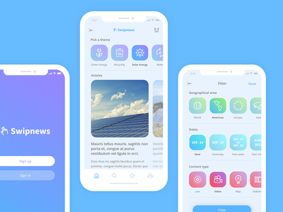 Swipnews - Stay informed about Ecology ecology ui interface design uiuxdesign mobileapp news app news swipe