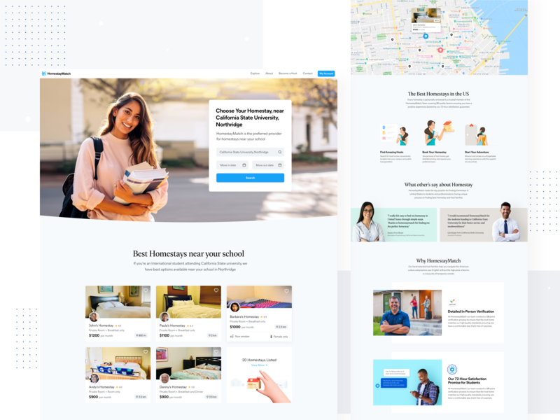 Sub Page for HomestayMatch marketing page marketing marketing agency iconography landing page design landing page landing hero section modern illustrations illustration testimonial clean cards booking app booking homestay web design website web