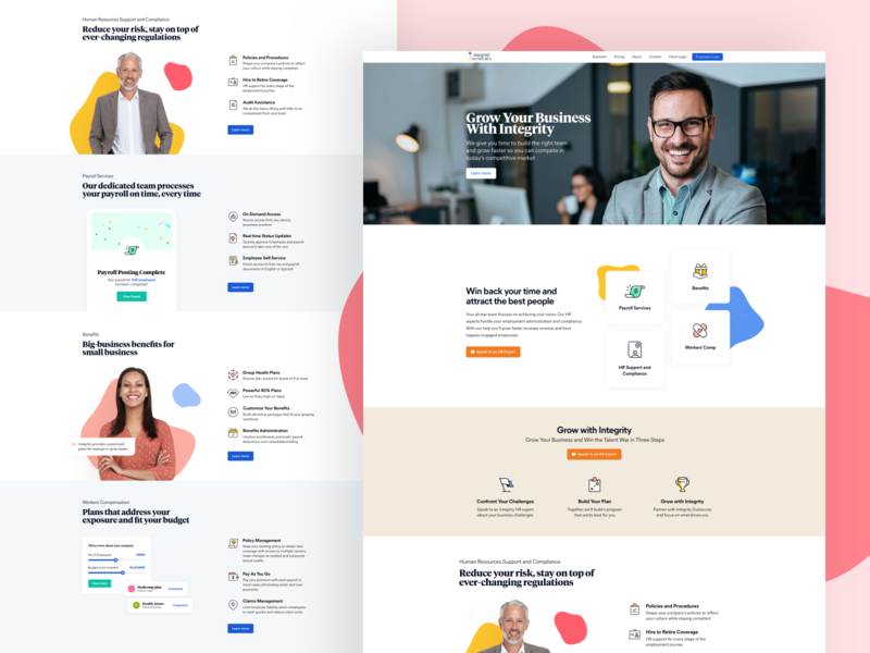 Features Page Exploration for Integrity visual design cards hero section features page branding modern ui clean iconography website design web design website web human resource hr landing design landing page landing marketing agency marketing