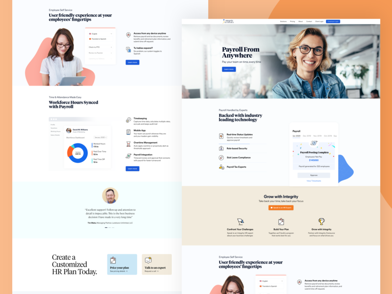 Features Page Exploration for Integrity business business website outsourcing payments hr human resource payroll website design landing page design landing page web design marketing agency ui modern hero section cards website web clean iconography