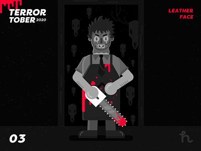 03. Leatherface - Terrortober2020 terrormovies illustration vector illustration character design flat design masacre in texas leatherface