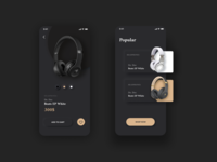 Headphones Shop Concept headphones music design mobile app mobile uxui ux skeuomorph neomorphism neomorphic ios ecommerce ui