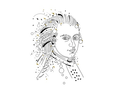 W.A.Mozart composer portrait lineart mozart music illustration graphicdesign modern