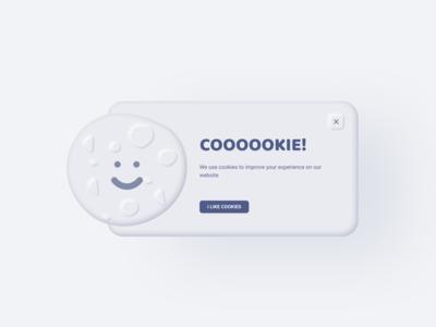 Cookie pop-up skeumorphic skeumorphism neumorphism desktop webdesign overlay popup cookie uidailychallenge uidaily uitrends uidesign