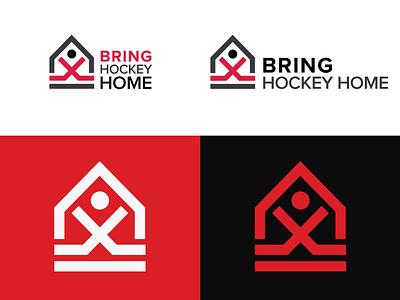 Bring Hockey Home brand branding icon clean minimal illustration design hockey stick graphic design logo hockey logo roller hockey hockey