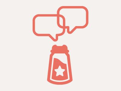 Socially Seasoned Logo salt shaker conversation logo logo design logo designer minimal orange flat star bubble clean vector