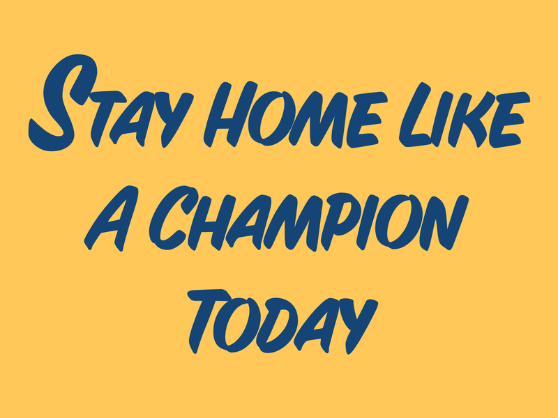 Stay Home Like A Champion gold navy notre dame notredame sports college football typography illustration design graphic design