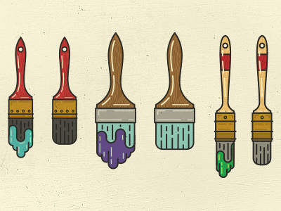 Additional Paint Brushes  paint brush drip paint brush flat vector illustration graphic graphic design retro vintage