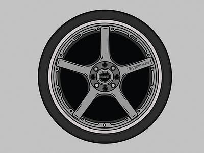 Rays G-Games 77W Wheel line art car design vector design graphic design rays volk aftermarket car illustration race car racing jdm wheels wheel