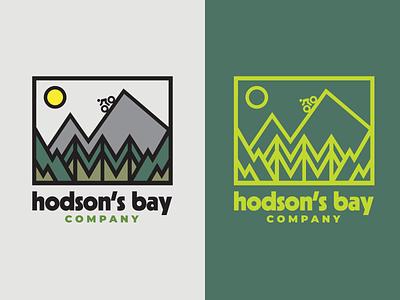 Hodson's Bay Logo Exploration bike mountain nature green thick line stroke logo design branding vector clean logo flat minimal illustration design graphic design