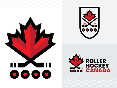 Roller Hockey Canada Logo Concept black red sports hockey stick inline hockey roller hockey canada hockey maple leaf vector branding logo flat clean minimal illustration design graphic design