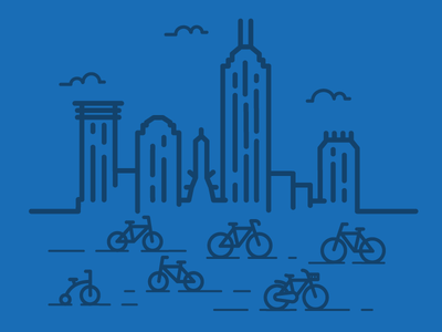 Downtown Indy Bikes cityscape bike bicycle indy indianapolis indiana design vector graphic design cloud building city