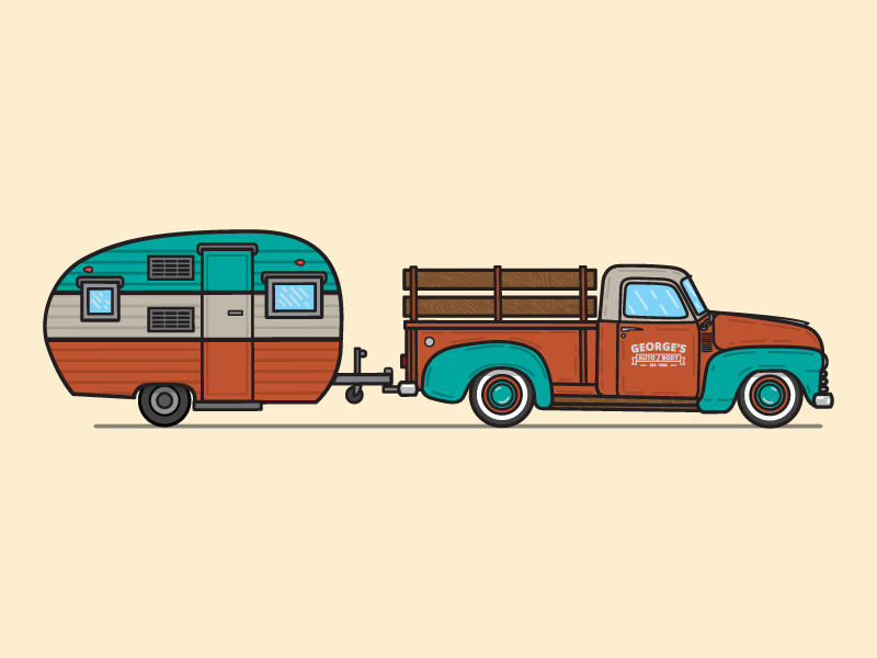 Goin' to the lake! logo graphic design retro wood design illustration vintage minimal flat truck camper